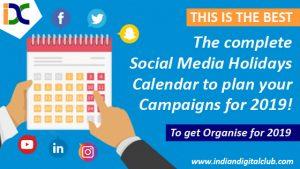 Social Media Holidays Calendar 2019
